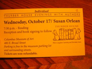 Thurber House Susan Orlean Ticket